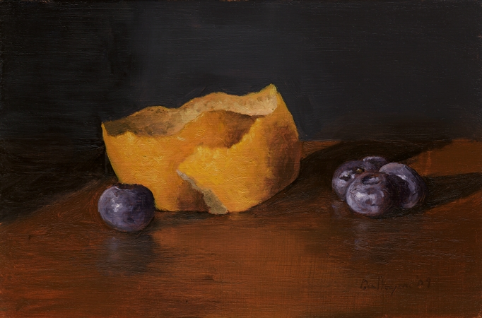 Blueberries with Lemon Peel - Original Still Life Painting by Paul Keysar