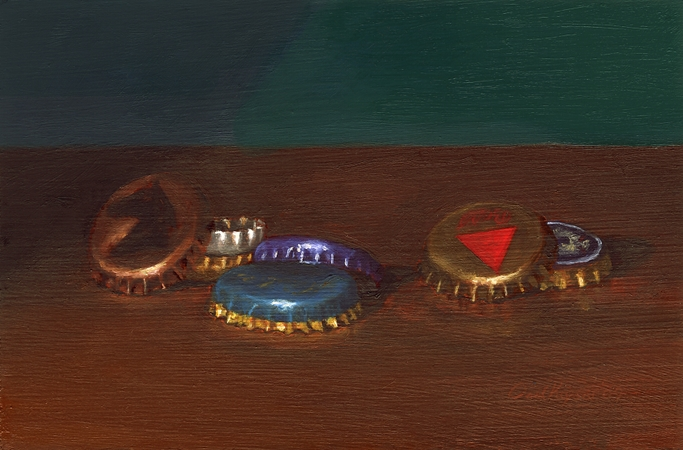 Bottle Caps, Original Still Life Painting by Paul Keysar