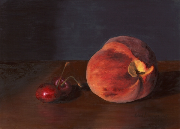 Cherries with Peach - Original Still Life Painting by Paul Keysar