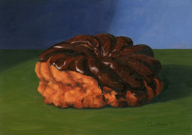 Chocolate French Cruller, Original Still Life Painting by Paul Keysar