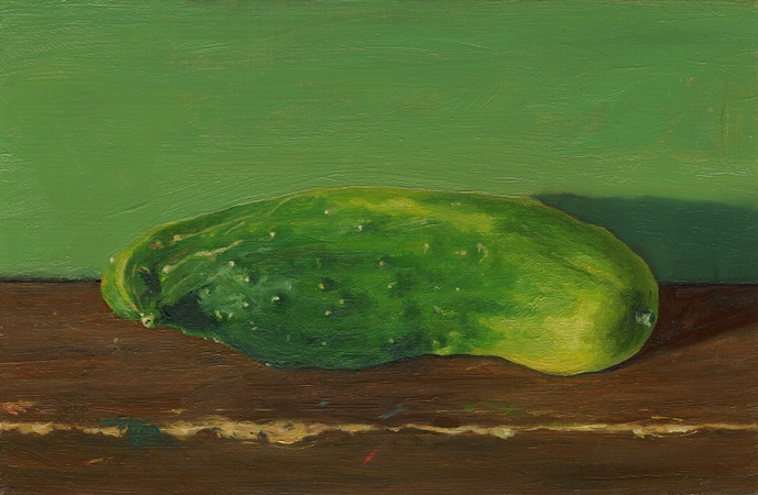 Cucumber Accident - Original Still Life Painting by Paul Keysar