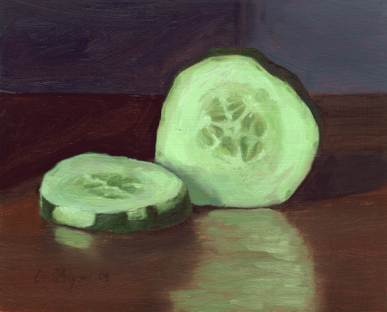 Cucumber Slices - Original Still Life Painting by Paul Keysar