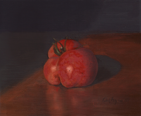 Garden Tomato - Original Still Life Painting by Paul Keysar