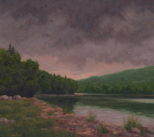 Gray Day at the Lake - Original Landscape Painting by Paul Keysar