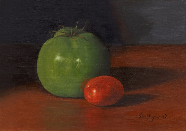 Green Tomato, Original Still Life Painting by Paul Keysar