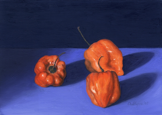 Habanero Peppers - Original Still Life Painting by Paul Keysar