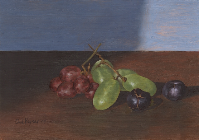 Red, Green, and Black Grapes - Original Still Life Painting by Paul Keysar