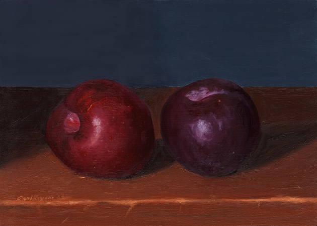 Red and Black Plums - Original Still Life Painting by Paul Keysar