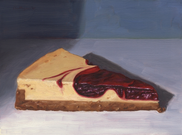 Strawberry Cheesecake, Original Still Life Painting by Paul Keysar