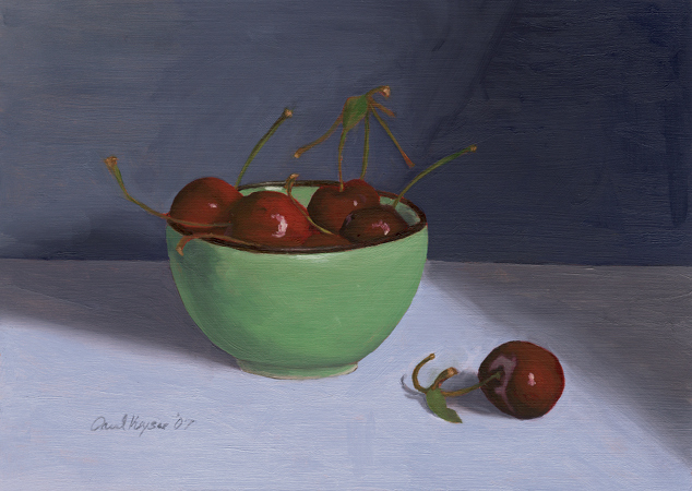 Cherries in Green Teacup - Traditional Realism Painting by Paul Keysar