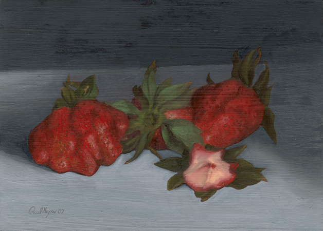 Strawberries - Traditional Realism Painting by Paul Keysar