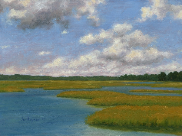 White Oak River - Original Landscape Painting by Paul Keysar