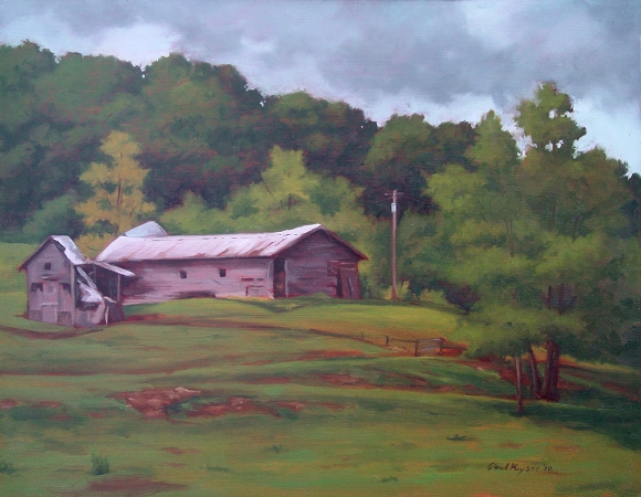 Collapsed Barn, original plein air painting by artist Paul Keysar