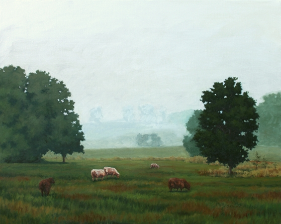 Sheep in the Fog - Traditional Realism Landscape Painting by Paul Keysar