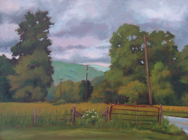 View from Hutchinson Grocery, original plein air painting by artist Paul Keysar