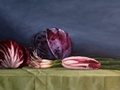Green Onions, Original Still Life painting of red cabbage, raddichio, red endive, and green onions by Paul Keysar