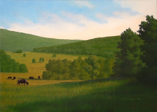 Black Angus Grazing in the Countryside - Original Realism Landscape Painting by Paul Keysar