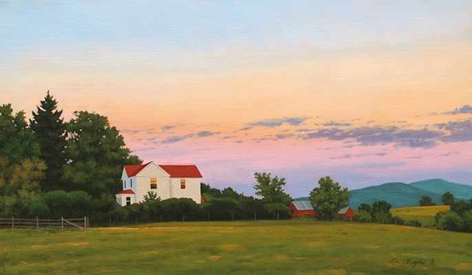 Farm House at Sunset, original landscape painting by Paul Keysar, Charlotte, NC