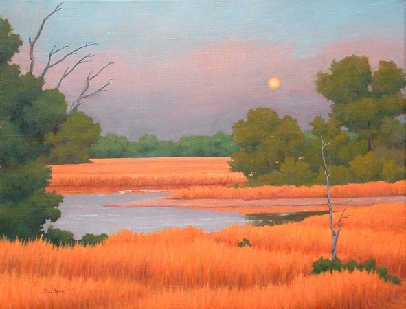 Moonrise Over the Marsh - Traditional Realism Landscape by Paul Keysar