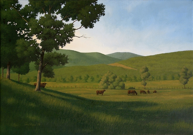Moving to the Shade - Original Realism Landscape Painting by Paul Keysar