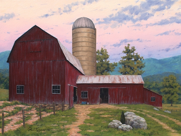 The Old Barn at Sunset, original oil landscape painting by Charlotte artist  Paul Keysar - Plein Air And Landscape Paintings By Charlotte, NC, Realist Artist