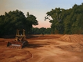 Bulldozer in the Clearing, Conquest Series Landscape painting by Paul Keysar