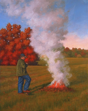 Burning Leaves - Traditional Realism Painting by Paul Keysar
