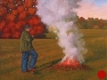 Burning Leaves, Conquest Series Landscape painting by Paul Keysar