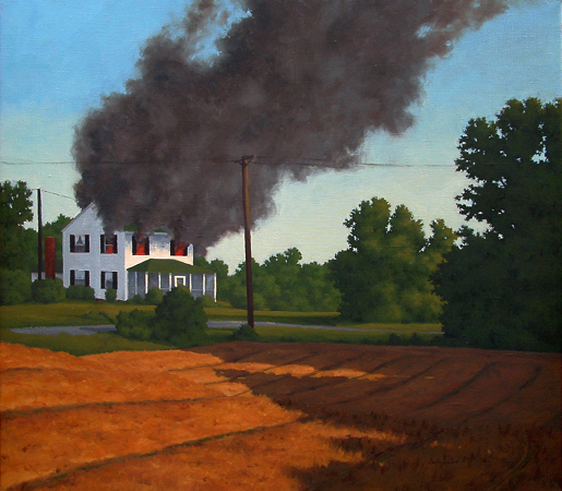 House Fire, Man / Nature Series Landscape painting by Paul Keysar