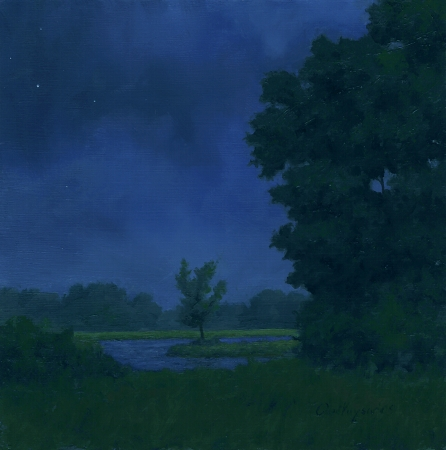 Cloudy Night - Original Landscape Painting by Paul Keysar