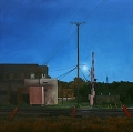 Corban Ave Railroad Crossing, Left, Original Night series landscape painting by Paul Keysar