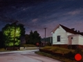Corner of Corban and Robbins, Concord, NC, Night Series Landscape painting by Paul Keysar