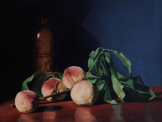 Peaches on the Branch, original still life painting by Paul Keysar