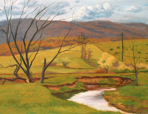 Middle River View, original plein air landscape painting by Paul Keysar, Charlotte, NC