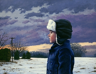 Jacob in Winter, original portrait painting, figure in the landscape, by artist Paul Keysar