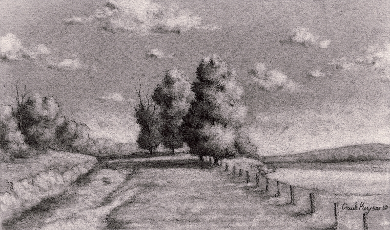 Lake View, Original Charcoal Drawing by Paul Keysar